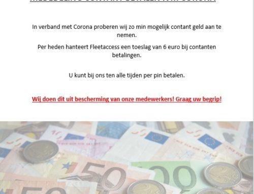 Wijziging contant geld / afstorten contant geld